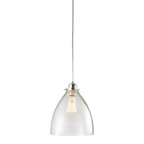 Clear glass & chrome effect plate Pendant Light 60874 by Endon